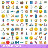 100 sport icons set, cartoon style. 100 sport icons set in cartoon style for any design vector illustration Stock Photo
