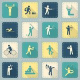 Sport Icons Set. Decorative swimming boxing weightlifting rhythmic gymnastics sport symbols patch style icons set flat isolated vector illustration Stock Photography