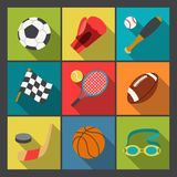 Sport icons set in flat design style Royalty Free Stock Photos