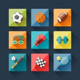 Sport icons set in flat design style Stock Photos