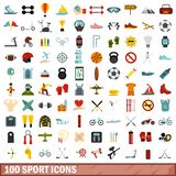 100 sport icons set, flat style. 100 sport icons set in flat style for any design illustration royalty free illustration