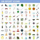 100 sport icons set, flat style. 100 sport icons set in flat style for any design vector illustration Stock Illustration
