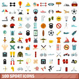 100 sport icons set, flat style. 100 sport icons set in flat style for any design vector illustration Royalty Free Stock Image