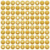 100 sport icons set gold. 100 sport icons set in gold circle isolated on white vector illustration Royalty Free Stock Images