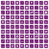100 sport icons set grunge purple. 100 sport icons set in grunge style purple color isolated on white background vector illustration Royalty Free Stock Photo