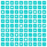 100 sport icons set grunge blue. 100 sport icons set in grunge style blue color isolated on white background vector illustration Stock Photo