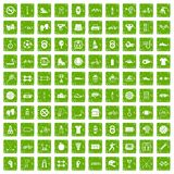 100 sport icons set grunge green. 100 sport icons set in grunge style green color isolated on white background vector illustration Stock Illustration