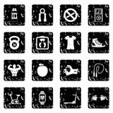 Sport icons set, grunge style. Sport icons set. Grunge illustration of 16 sport vector icons for web Royalty Free Stock Image