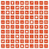 100 sport icons set grunge orange. 100 sport icons set in grunge style orange color isolated on white background vector illustration Stock Photo