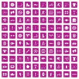 100 sport icons set grunge pink. 100 sport icons set in grunge style pink color isolated on white background vector illustration Stock Photo