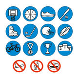Sport icons set,  illustration. Sport equipment. Royalty Free Stock Photo