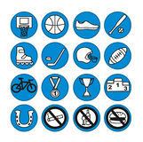 Sport icons set,  illustration. Sport equipment. Royalty Free Stock Photos