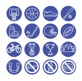Sport icons set,  illustration. Sport equipment. Royalty Free Stock Images
