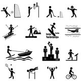 Sport icons set. Sport life. Vector icons set with sticks isolated on white Stock Images