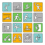 Sport icons. Set of linear sign. Vector shapes athletes Stock Image
