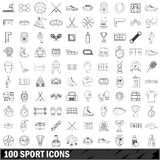 100 sport icons set, outline style. 100 sport icons set in outline style for any design vector illustration Stock Photos