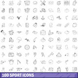100 sport icons set, outline style. 100 sport icons set in outline style for any design vector illustration Stock Image