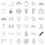 Sport icons set, outline style. Sport icons set. Outline style of 36 sport vector icons for web isolated on white background Stock Photo