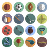 Sport icons set shadow flat Stock Photography