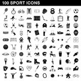 100 sport icons set, simple style. 100 sport icons set in simple style for any design vector illustration Stock Photography