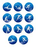Sport icons. Set with sportsman for any competition or championship design Royalty Free Stock Image