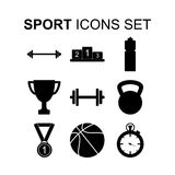 Sport icons set. Vector illustration. Sport icons set. Fitness healthy lifestyle silhouette symbols. Vector illustration Stock Image