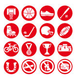 Sport icons set, vector illustration. Sport equipment. Stock Photos
