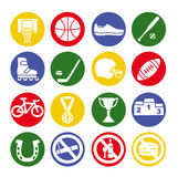 Sport icons set, vector illustration. Sport equipment. Royalty Free Stock Image