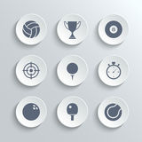 Sport icons set - vector white round buttons Stock Photography