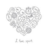 Sport. Icons in the shape of a heart Royalty Free Stock Image