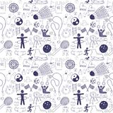 Sport icons. Sport hand drawn icons. Seamless pattern Royalty Free Stock Images