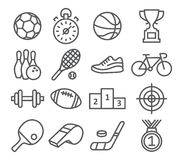 Sport icons in trendy linear style. On white Stock Images