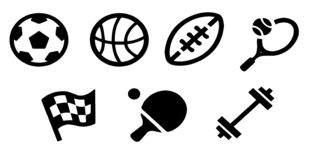 New sports icons and sports symbols, the flag. Sport icons. Vector illustration.Seamless Set of Soccer Players. Sports, sports equipment, healthy lifestyle icons stock illustration