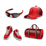 Sport icons. Vector realistic sport objects icons. Sneakers,sport bag, sport glasses, cap Stock Photo