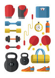 Sport icons vector. Set of Gym icons. Sport series. Flat Vector Icons Stock Image