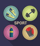 Sport icons vector. Set of Gym icons. Sport series. Flat Vector Icons Stock Photos