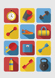 Sport icons vector. Set of Gym icons. Sport series. Flat Vector Icons stock illustration