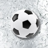 Sport illustration with soccer ball coming in cracked glass wall. Cracked glass wall. 3d rendering Stock Photo