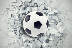 Sport illustration with soccer ball coming in cracked wall. Cracked concrete earth abstract background. 3d rendering Stock Photography