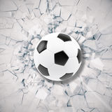 Sport illustration with soccer ball coming in cracked wall. Cracked concrete earth abstract background. 3d rendering Royalty Free Stock Photo