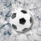 Sport illustration with soccer ball coming in cracked wall. Cracked concrete earth abstract background. 3d rendering Stock Photo