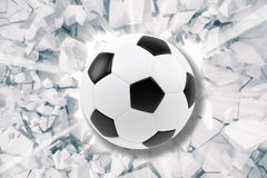Sport illustration with soccer ball coming in cracked wall. Cracked concrete earth abstract background. 3d rendering Royalty Free Stock Photos