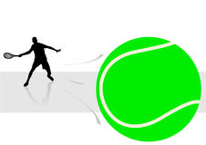 Sport illustration with tennis player. With reflection Stock Photo