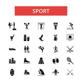 Sport illustration, thin line icons, linear flat signs, vector symbols  Royalty Free Stock Image