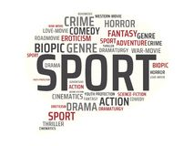 SPORT - image with words associated with the topic MOVIE, word, image, illustration royalty free stock image