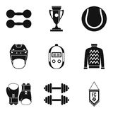 Sport industry icons set, simple style. Sport industry icons set. Simple set of 9 sport industry vector icons for web isolated on white background Stock Photos