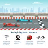 Sport infographic with race cars of formula 1. Different cars and driver tools. Formula one race car. Vector illustration stock illustration