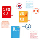 Sport infographic tags. Vecor sport stamina infographic color tags Stock Images