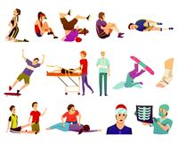 Injured Players Character Set. Sport injury flat colorful icons collection of isolated athletes suffering from traumas and sports medicine doctors vector Stock Photography