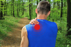 Sport injury, Man with shoulder pain Royalty Free Stock Images